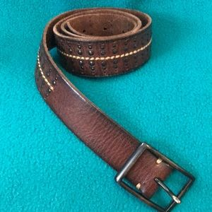 AEO Brown Leather Belt with Stitching and Studs M